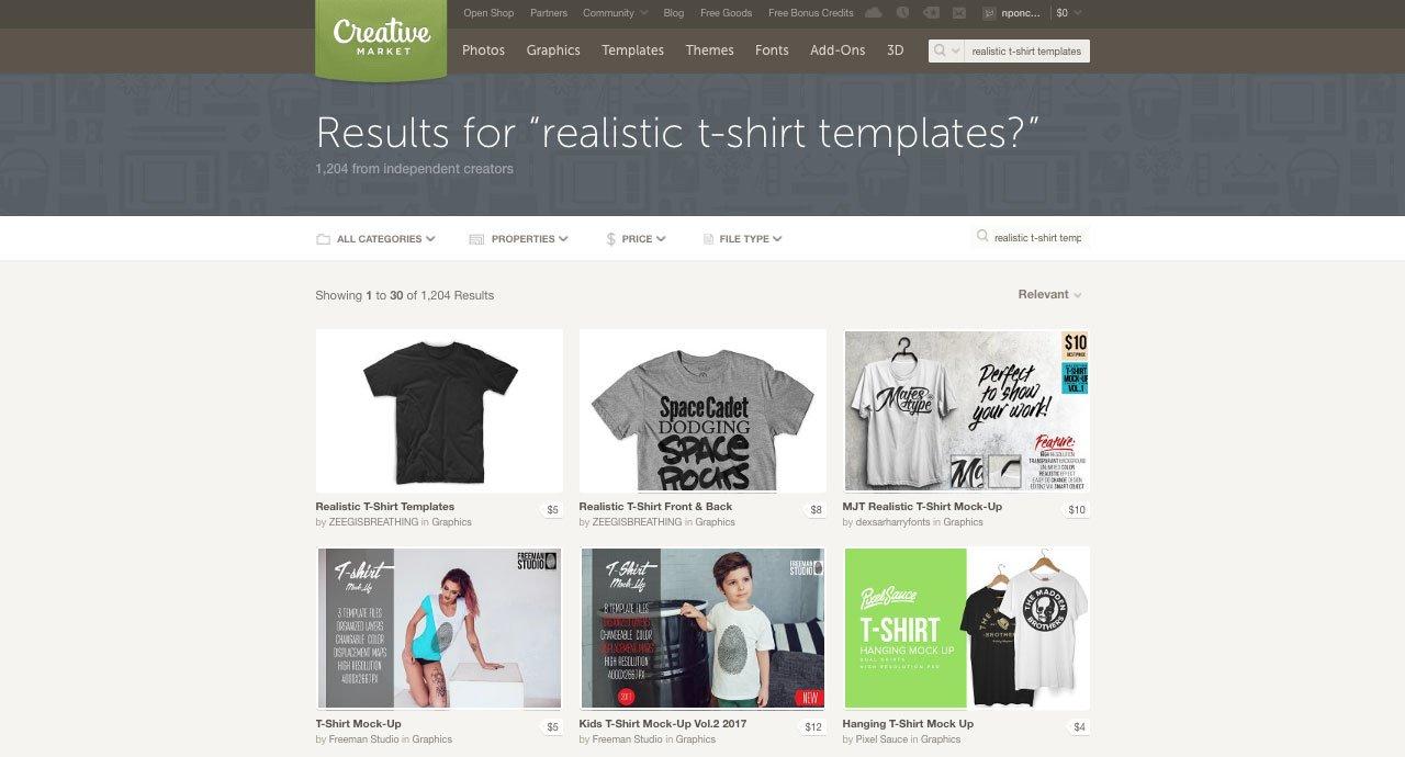 Creative Market T-Shirt Mockup Templates