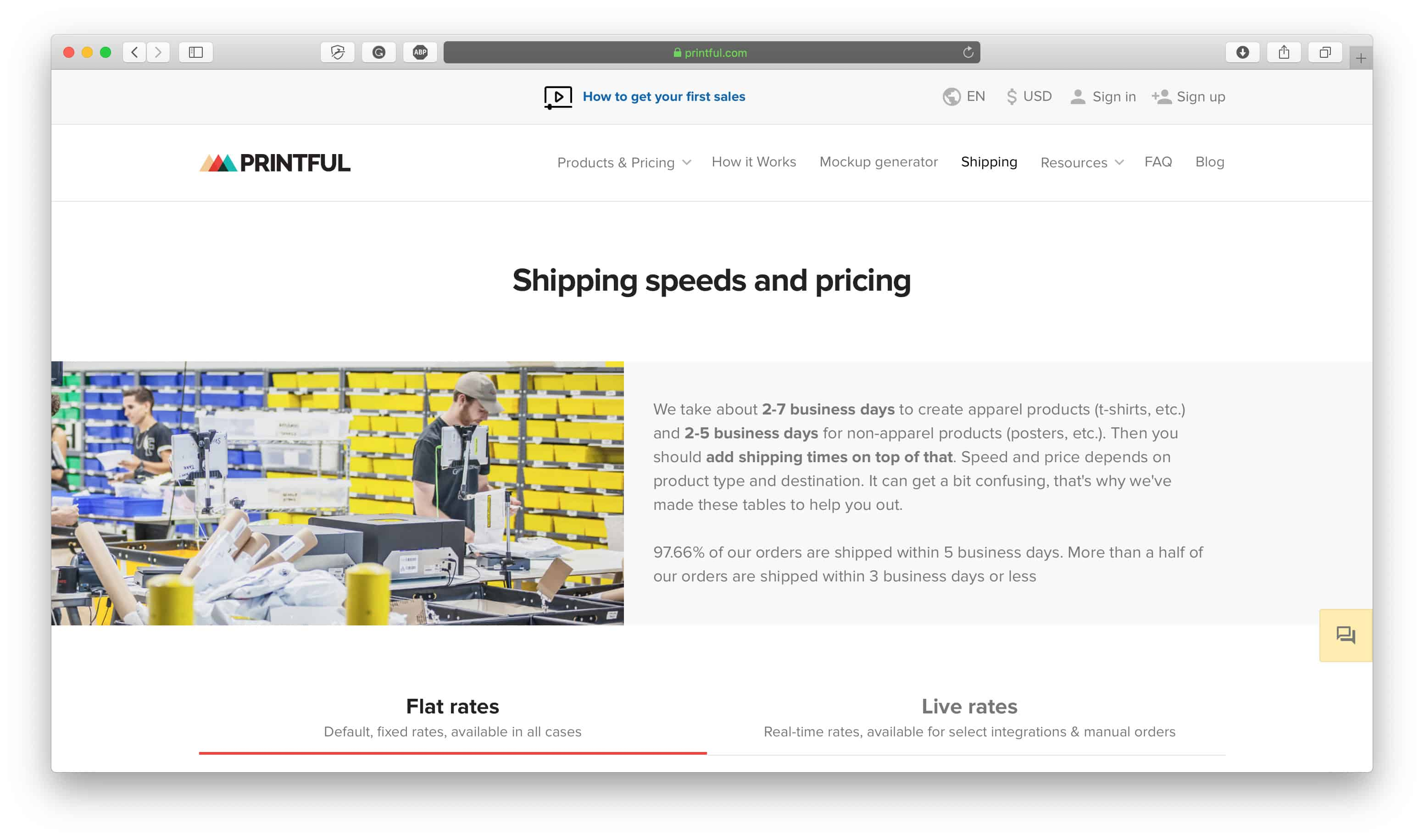 Printful Shipping Options